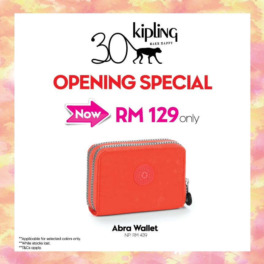 Opening special by Kipling! Buy Abra Wallet at RM129 ONLY (RRP RM439. *while stocks last. *T&C apply. #kipling #DVO #outletmall #openingspecial #abrawallet